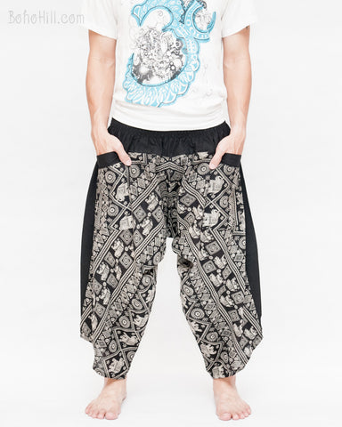 ninja style samurai cropped harem pants flexible low crotch elastic shirred waist mountain ethnic tribal trousers black indian elephant diamond front