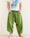 Ninja Style Samurai Harem Pants Art trousers Green Wood Grain front