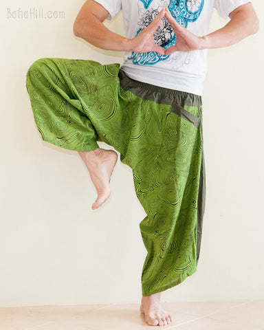 Ninja Style Samurai Harem Pants Art trousers Green Wood Grain namaste