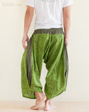 Ninja Style Samurai Harem Pants Art trousers Green Wood Grain rear