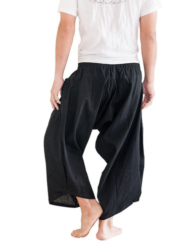 Ninja Style Samurai Harem Pants Warrior Trousers Solid Black Back
