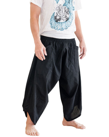 Ninja Style Samurai Harem Pants Warrior trousers Solid Black side