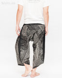 ninja style samurai harem pants artist trousers black tribal warrior spiderweb diamond dragon scale back