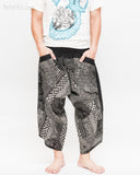 ninja style samurai harem pants artist trousers black tribal warrior spiderweb diamond dragon scale front
