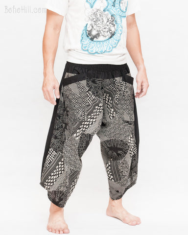 ninja style samurai harem pants artist trousers black tribal warrior spiderweb diamond dragon scale side