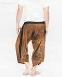 ninja style samurai harem pants artist trousers brown tribal warrior spiderweb diamond dragon scale back