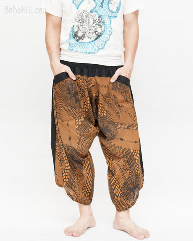 ninja style samurai harem pants artist trousers brown tribal warrior spiderweb diamond dragon scale front