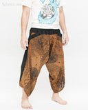 ninja style samurai harem pants artist trousers brown tribal warrior spiderweb diamond dragon scale side