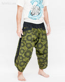 Ninja Style Samurai Harem Pants Artist Trousers (Green Zen Meadow) side