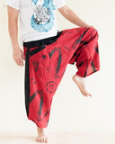 Parkour Pants Ninja Style Samurai Harem Trousers Red ZigZag Brush balance