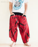 Parkour Pants Ninja Style Samurai Harem Trousers Red ZigZag Brush front