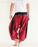 Parkour Pants Ninja Style Samurai Harem Trousers Red ZigZag Brush rear