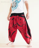 Parkour Pants Ninja Style Samurai Harem Trousers Red ZigZag Brush side