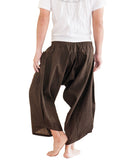 Ninja Style Samurai Harem Pants Warrior Trousers Solid Brown back