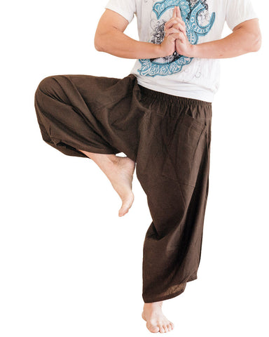 Ninja Style Samurai Harem Pants Warrior Trousers Solid Brown dance