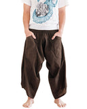 Ninja Style Samurai Harem Pants Warrior Trousers Solid Brown front