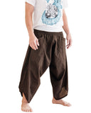 Ninja Style Samurai Harem Pants Warrior Trousers Solid Brown side