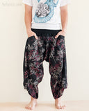 Ninja Style Warrior Harem Pants Black Bamboo Forest front