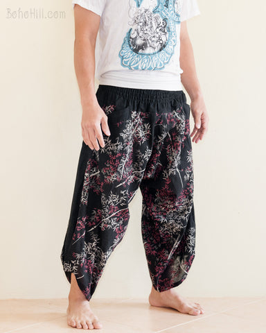 Ninja Style Warrior Harem Pants Black Bamboo Forest side