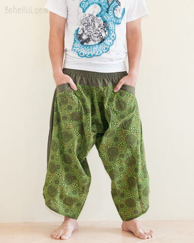 Ninja Style Warrior Harem Pants Green Kiku Sunflower front