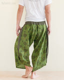 Ninja Style Warrior Harem Pants Green Kiku Sunflower rear