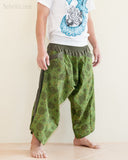 Ninja Style Warrior Harem Pants Green Kiku Sunflower side
