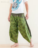 Ninja Style Warrior Harem Pants Green Kiku Sunflower walk