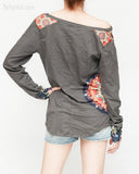 Mandala Patch Off The Shoulder Women's Top Long Sleeves (Charcoal Gray)