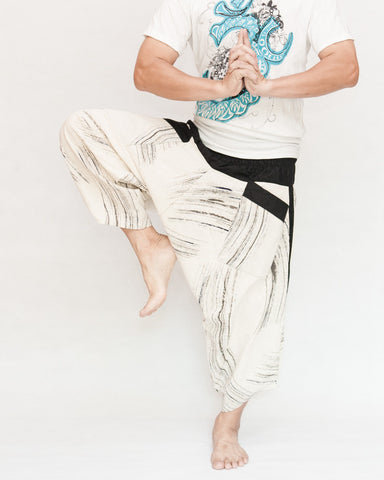 Off White Black Brush Ninja Style Samurai Harem Pants Artist Trousers dance