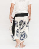 Off White Navy Blue Swirl Ninja Style Samurai Harem Pants Artist Trousers back