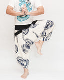 Off White Navy Blue Swirl Ninja Style Samurai Harem Pants Artist Trousers dance
