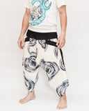 Off White Navy Blue Swirl Ninja Style Samurai Harem Pants Artist Trousers side