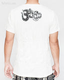 Om Script Flower Ornament Yoga Crinkle Men's T-Shirt (White-Turquoise) back