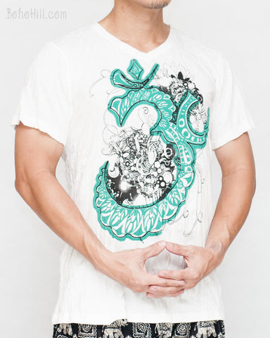Om Script Flower Ornament Yoga Crinkle Men's T-Shirt (White-Turquoise) side
