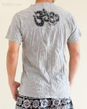 Om Tribal Mandalas Crinkle Original Men's Tattoo T-Shirt Gray BohoHill back