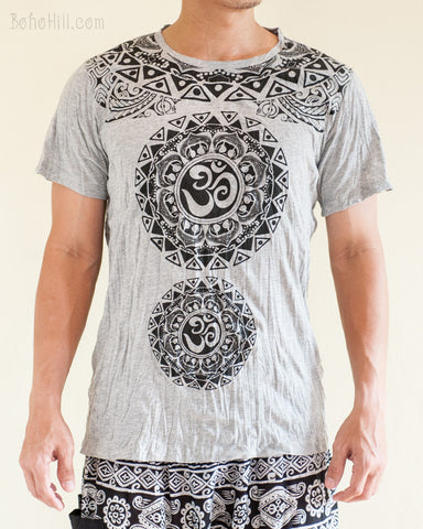 Om Tribal Mandalas Crinkle Original Men's Tattoo T-Shirt Gray BohoHill front