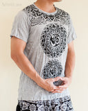 Om Tribal Mandalas Crinkle Original Men's Tattoo T-Shirt Gray BohoHill side