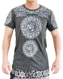 Om Tribal Tattoo Mandalas Crinkle Men's T-Shirt (Granite Black)