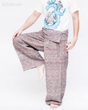 one of a kind high quality handmade thai fisherman pants unique fine handwoven cotton wrap around fold over waist loose fit unisex yoga trousers jm3 dance