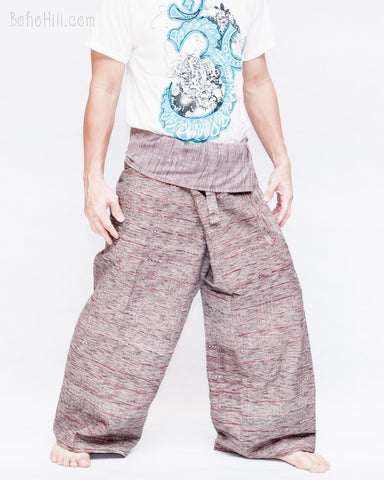 one of a kind high quality handmade thai fisherman pants unique fine handwoven cotton wrap around fold over waist loose fit unisex yoga trousers jm3 side