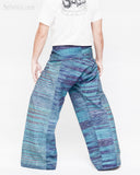 one of a kind thai fisherman pants unique handwoven cotton patchwork wrap around fold over waist mountain tribal design extra long limited edition for tall people aqua blue streak stripe jmx24 back