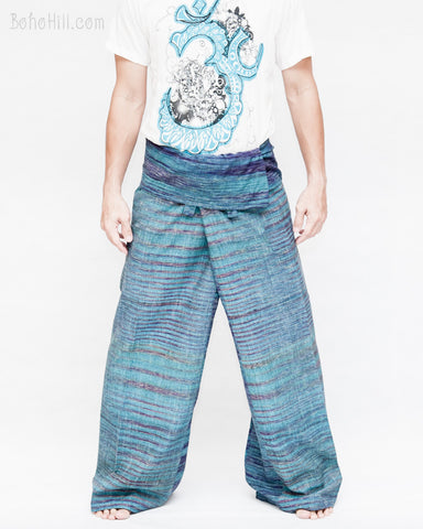 one of a kind thai fisherman pants unique handwoven cotton patchwork wrap around fold over waist mountain tribal design extra long limited edition for tall people aqua blue streak stripe jmx24 front