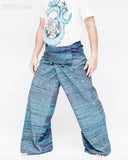 one of a kind thai fisherman pants unique handwoven cotton patchwork wrap around fold over waist mountain tribal design extra long limited edition for tall people aqua blue streak stripe jmx24 left