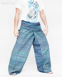 one of a kind thai fisherman pants unique handwoven cotton patchwork wrap around fold over waist mountain tribal design extra long limited edition for tall people aqua blue streak stripe jmx24 right