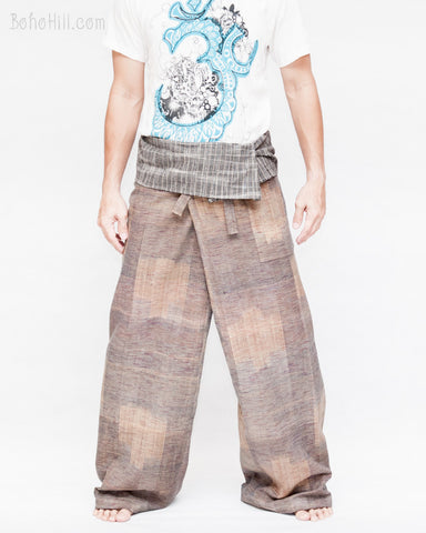 one of a kind thai fisherman pants unique handwoven cotton patchwork wrap around fold over waist mountain tribal design extra long limited edition for tall people brown wood grain plank square jmx23 front