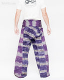 one of a kind thai fisherman pants unique handwoven cotton patchwork wrap around fold over waist mountain tribal design extra long limited edition for tall people horizontal striped purple gray jmx25 back