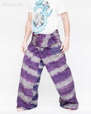 one of a kind thai fisherman pants unique handwoven cotton patchwork wrap around fold over waist mountain tribal design extra long limited edition for tall people horizontal striped purple gray jmx25 left