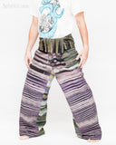 one of a kind wrap around patchwork fisherman pants extra long for tall people limited edition handwoven cool purple black stripe jmx17 left