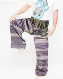 one of a kind wrap around patchwork fisherman pants extra long for tall people limited edition handwoven cool purple black stripe jmx17 lift