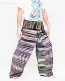 one of a kind wrap around patchwork fisherman pants extra long for tall people limited edition handwoven cool purple black stripe jmx17 right